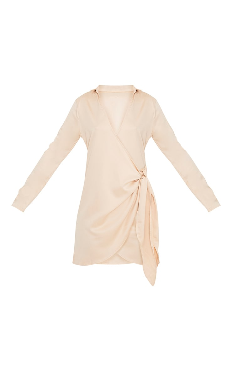 Shaylene Champagne Tie Side Satin Shirt Dress 3