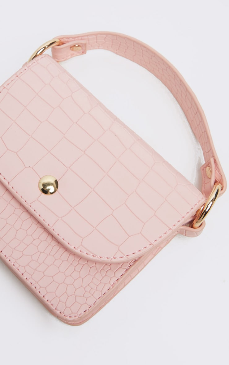 Pale Pink Croc Square Mini Bag 5
