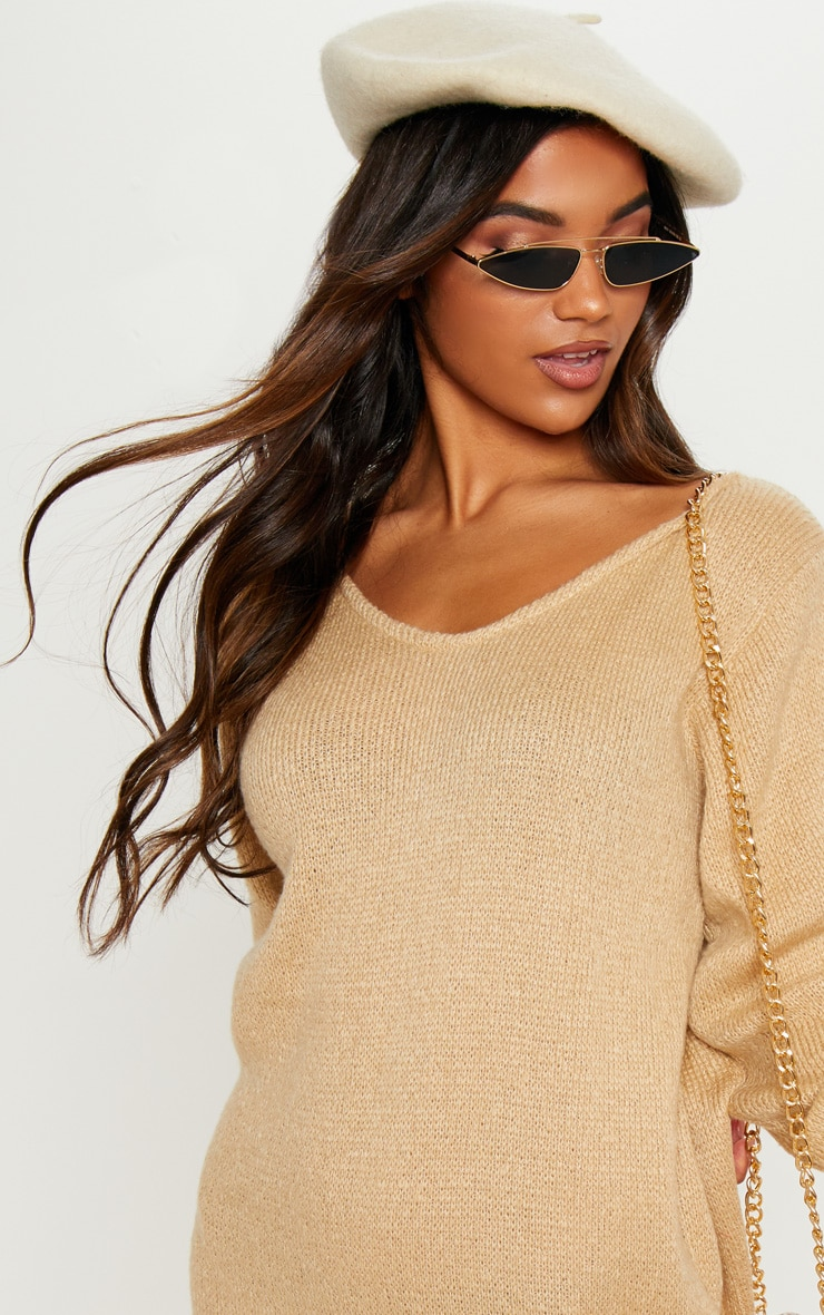 Stone Soft Knitted Off the Shoulder Mini Dress 5