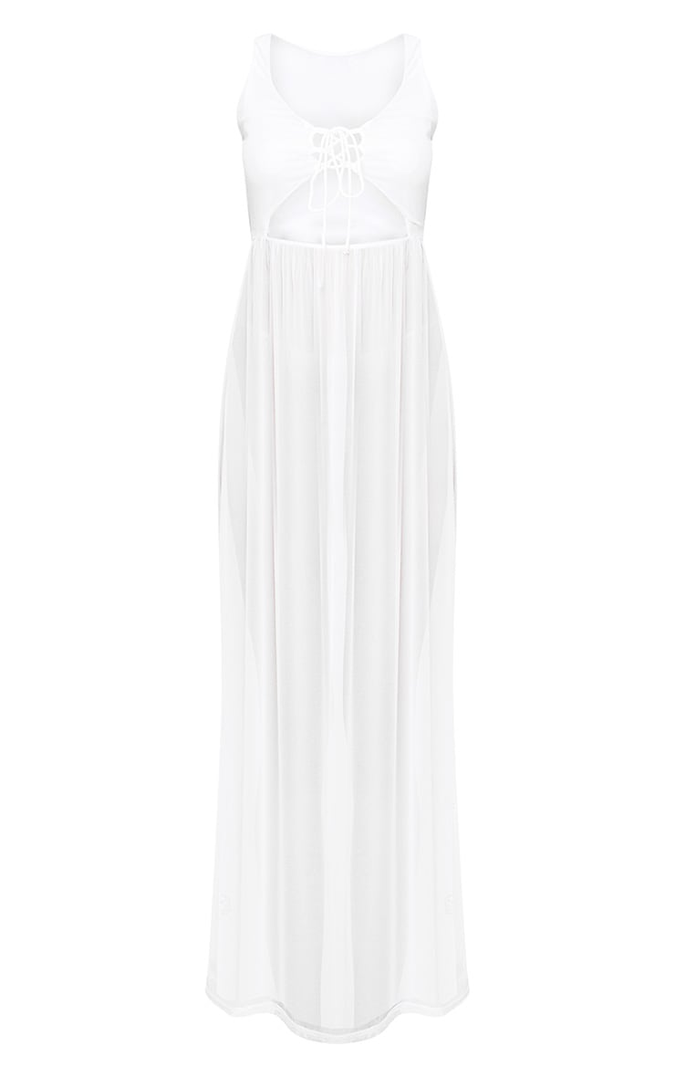 White Sheer Tie Front Mesh Maxi Dress 3