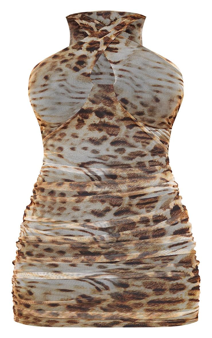 Shape Brown Leopard Print Mesh Halterneck Bodycon Dress 5