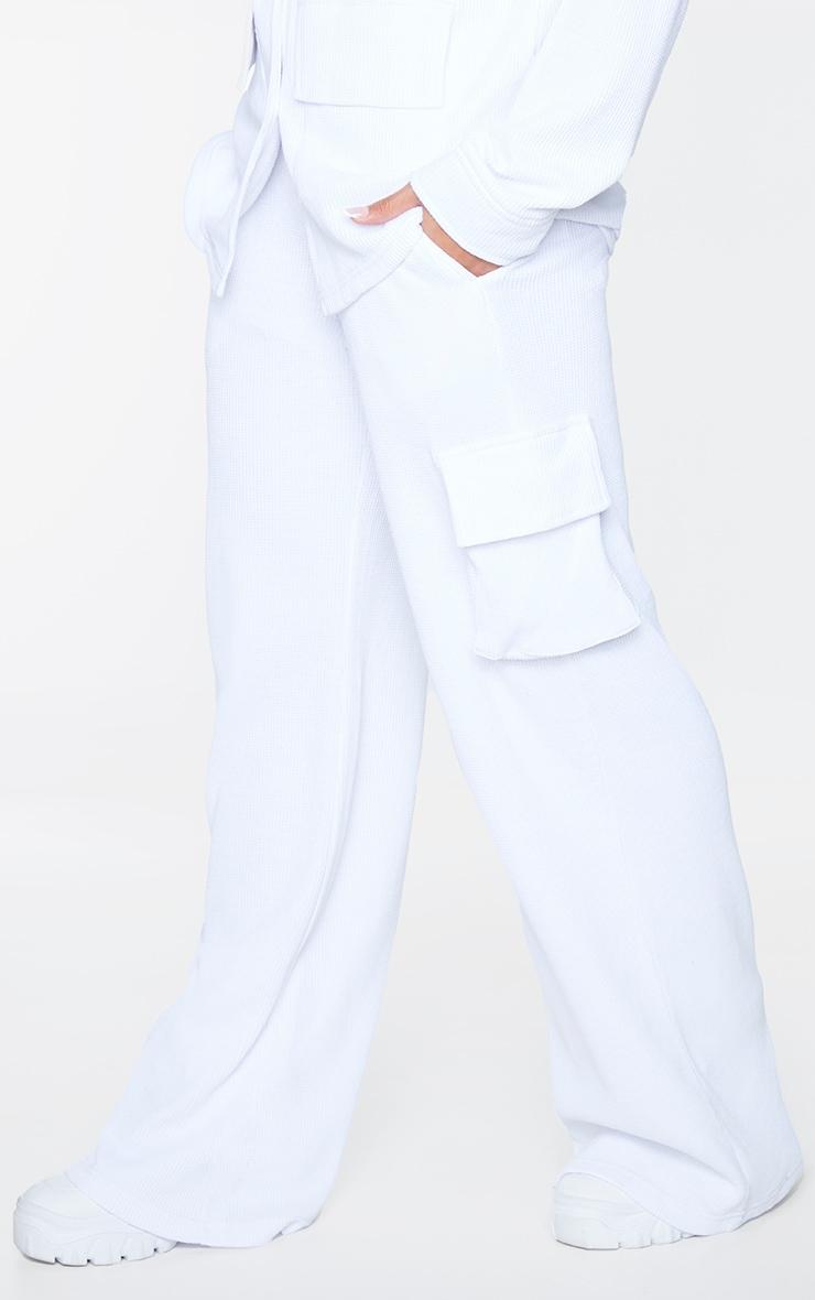 White Waffle Pocket Detail Wide Leg Joggers 2