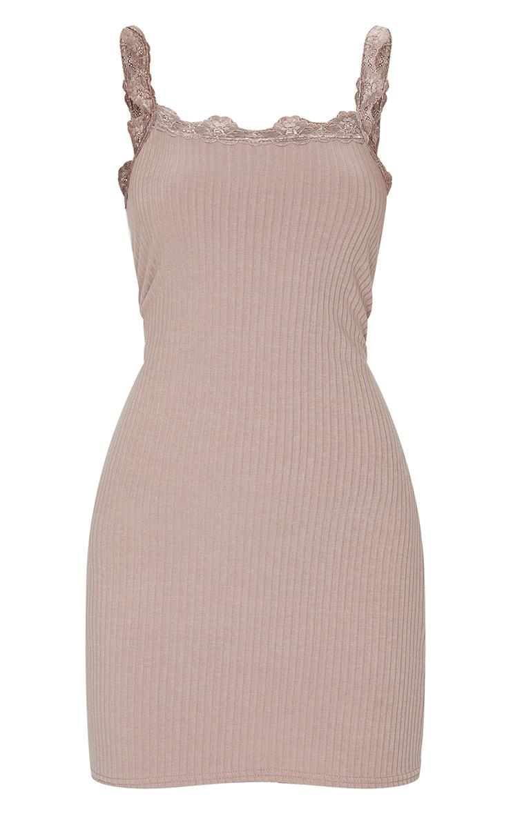 Mocha Rib Lace Frill Detail Strappy Bodycon Dress 5