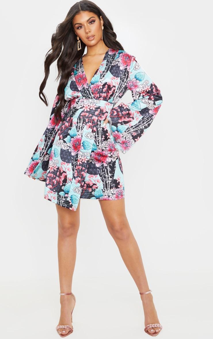 Pink Floral Oriental Print Satin Kimono Sleeve Wrap Detail Shift Dress  3