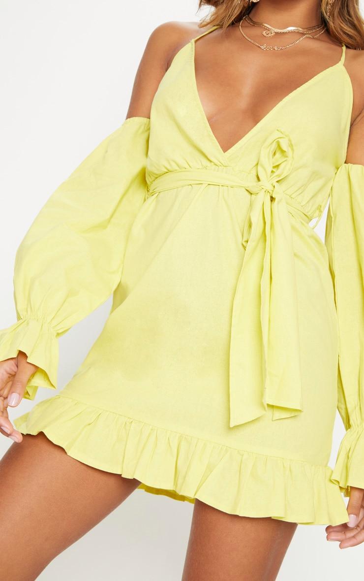 Chartreuse Frill Detail Tie Waist Shift Dress 5