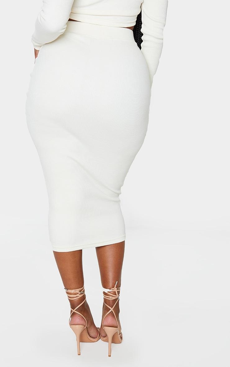 Shape Cream Ribbed Midi Skirt 4