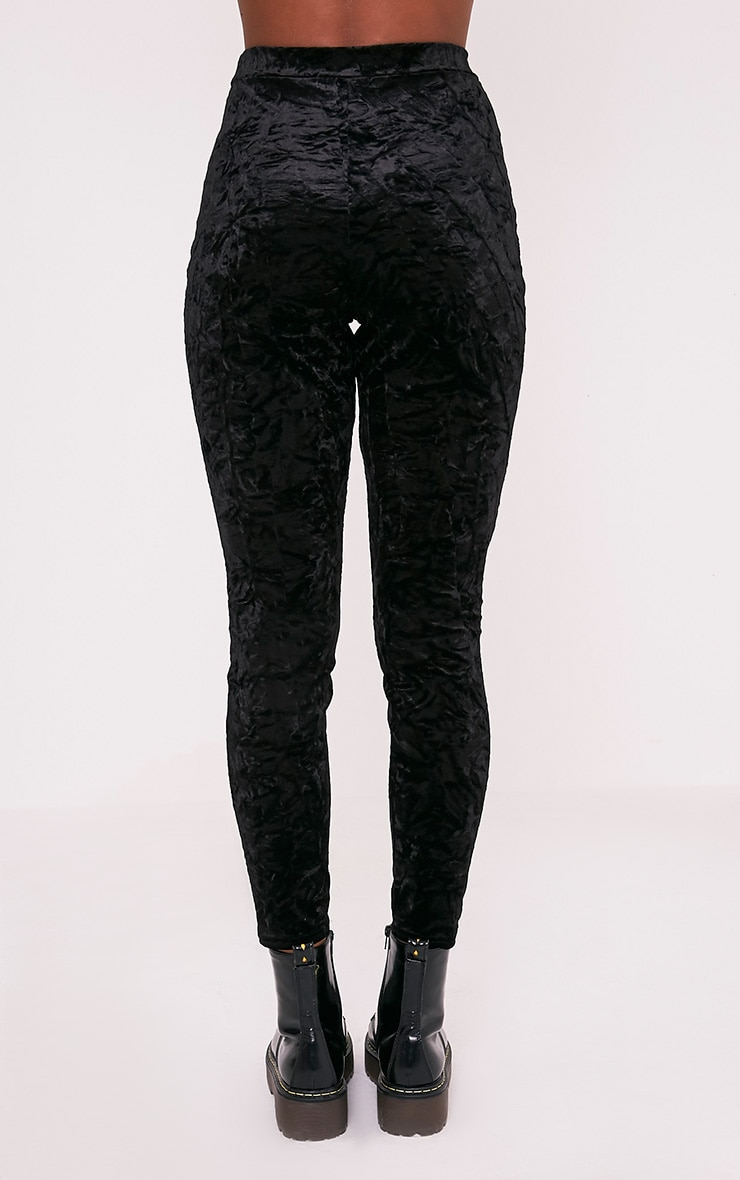 Sage Black Crushed Velvet Cigarette Trousers 5
