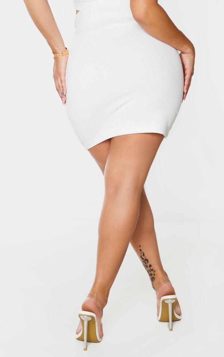 Shape Cream Thick Rib Elasticated Waistband Bodycon Skirt 3
