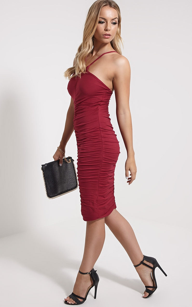 Tarina Oxblood Ruched Front Midi Dress 3