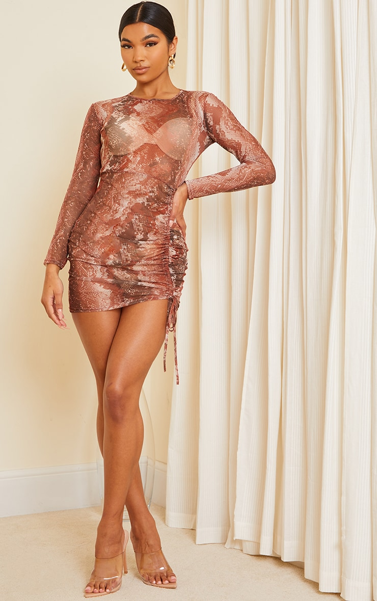 Rust Snake Print Mesh Long Sleeve Ruched Skirt Bodycon Dress 3