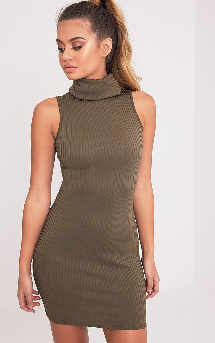 Marissa Khaki Ribbed Turtle Neck Mini Dress 1