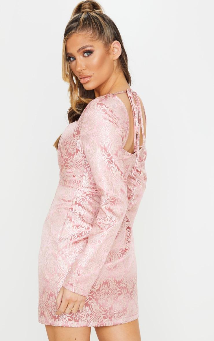 Pink Long Sleeve Jacquard Bodycon Dress 2