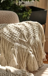 Cream Macrame Tassel Filled Cushion 2