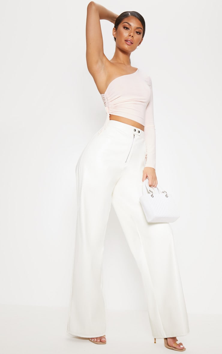 Nude Slinky One Shoulder Ruched Crop Top 4