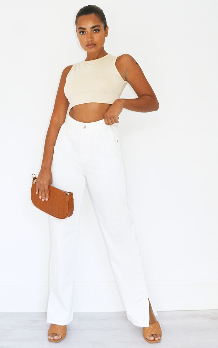 Petite White Split Hem Denim Jeans 1
