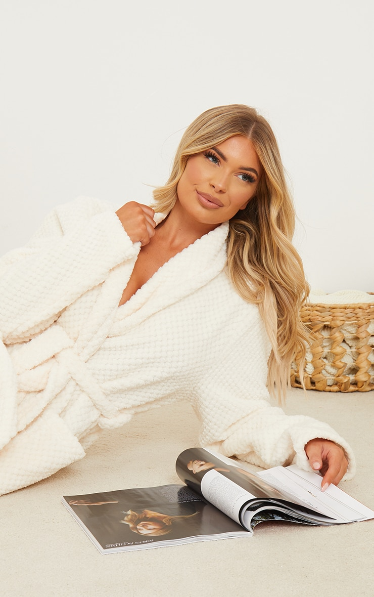 Cream Textured Fluffy Longline Dressing Gown 4