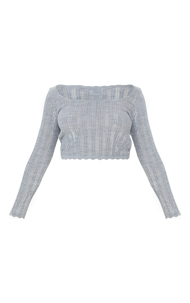 Petite Grey Pearl Knit Long Sleeve Knitted Top 5