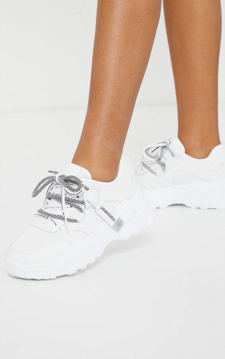 White Hiker Lace Up Panel Detail Chunky Sneakers 2
