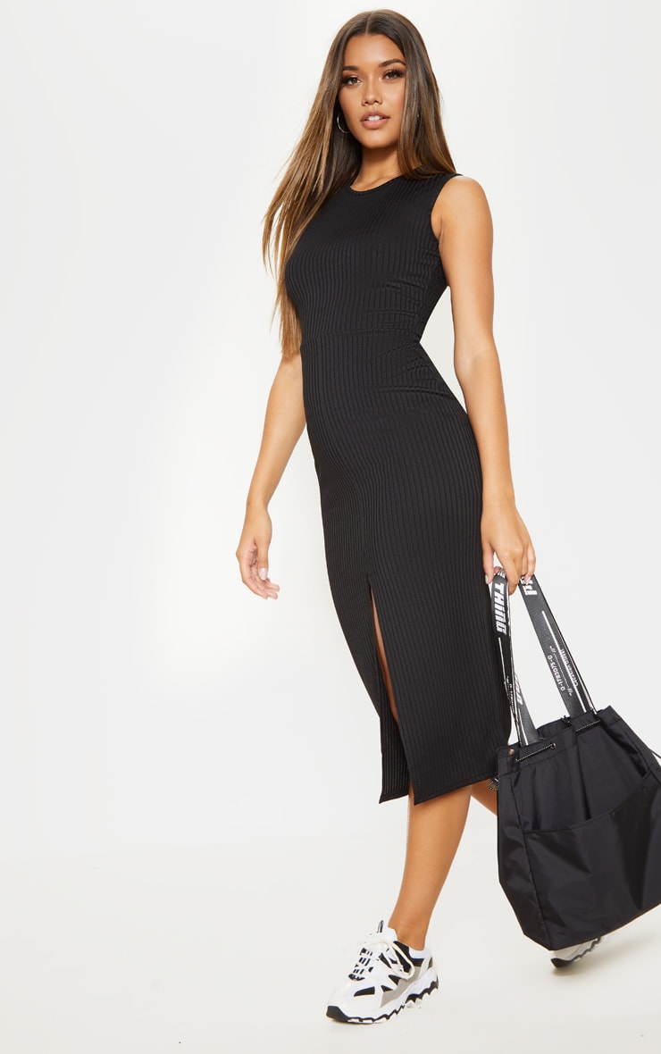 Black Split Front Ribbed Midi Dress 4