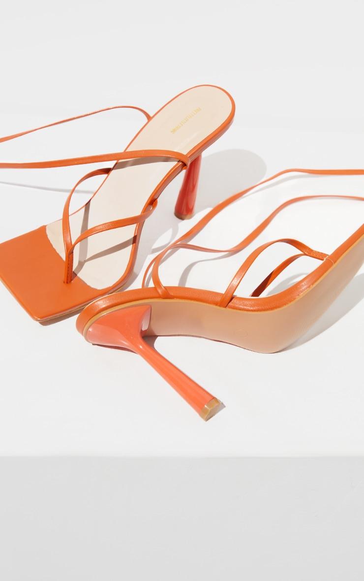 Orange PU Toe Thong Lace Up Circle Heeled Sandals 4