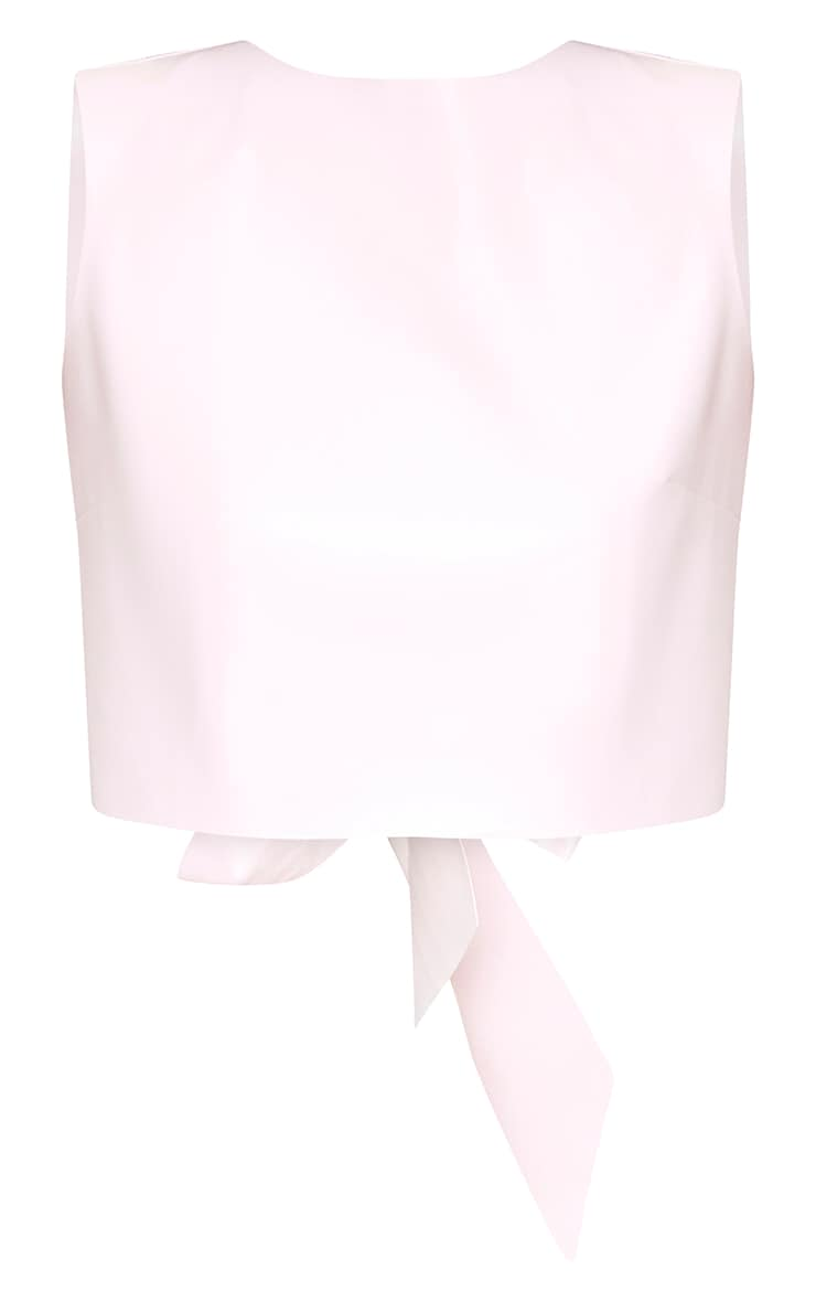 Baby Pink PU Bow Back Top 3