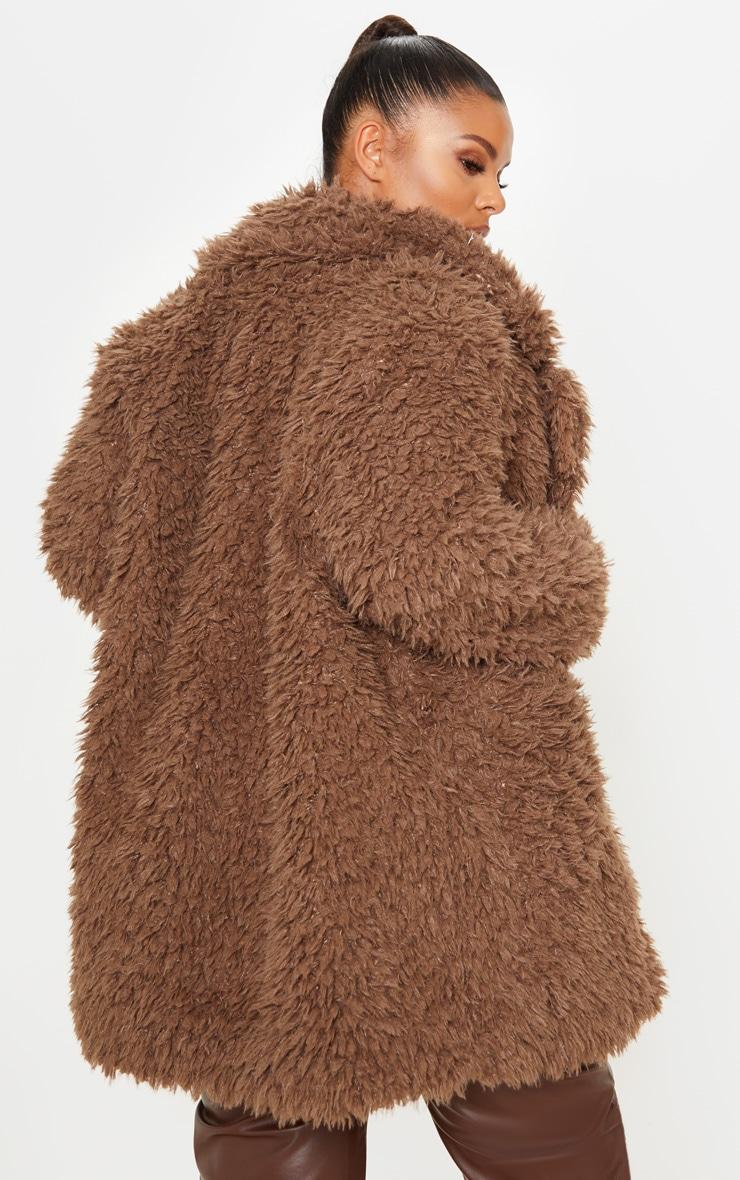 Plus Brown Teddy Faux Collar Coat 2
