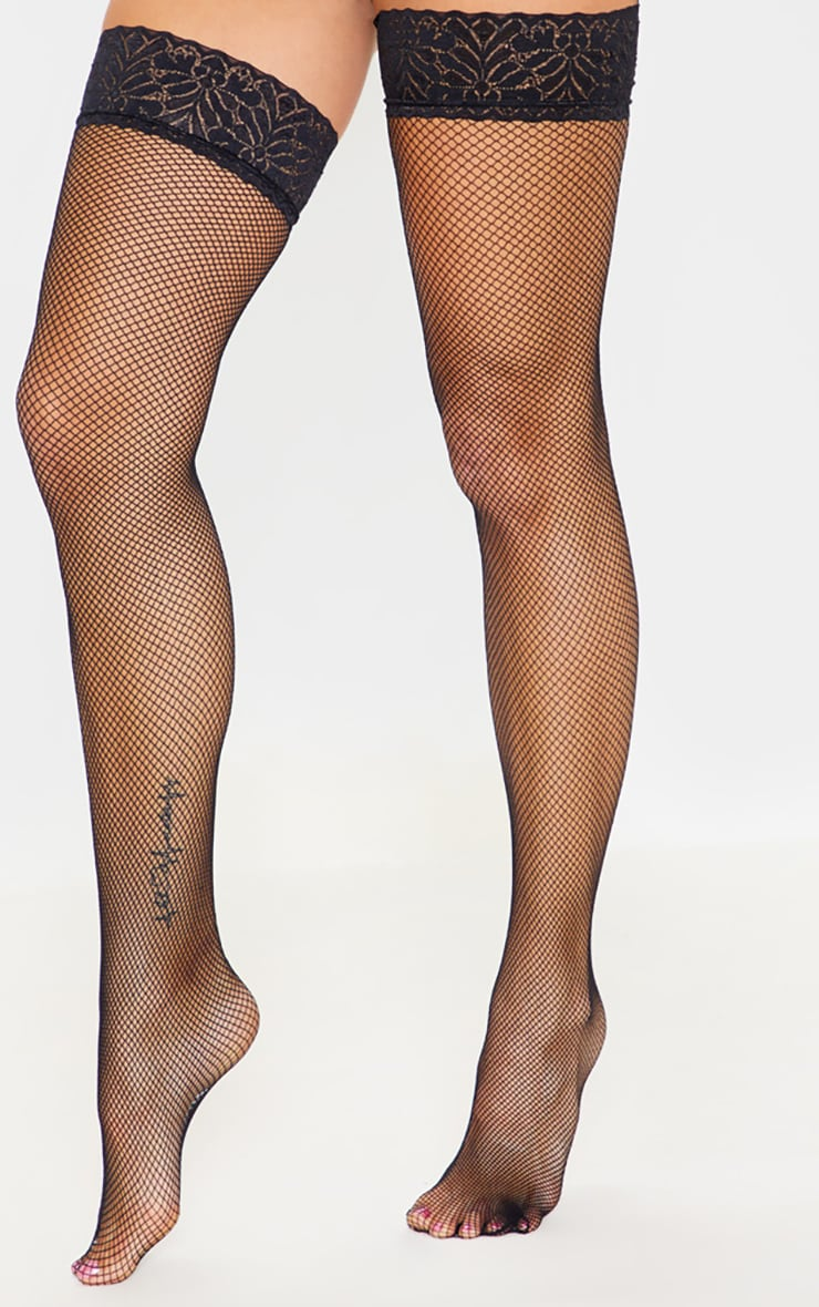 74d962479c6 Black Fishnet Thigh High Stockings | PrettyLittleThing USA