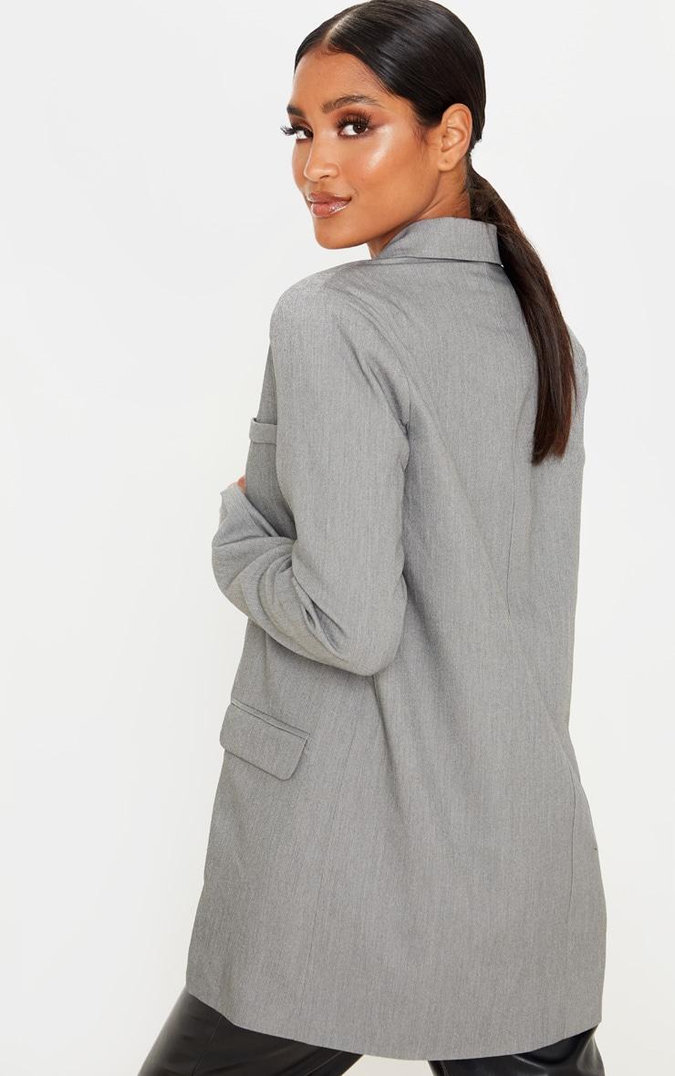 Grey Oversized Woven Blazer 2