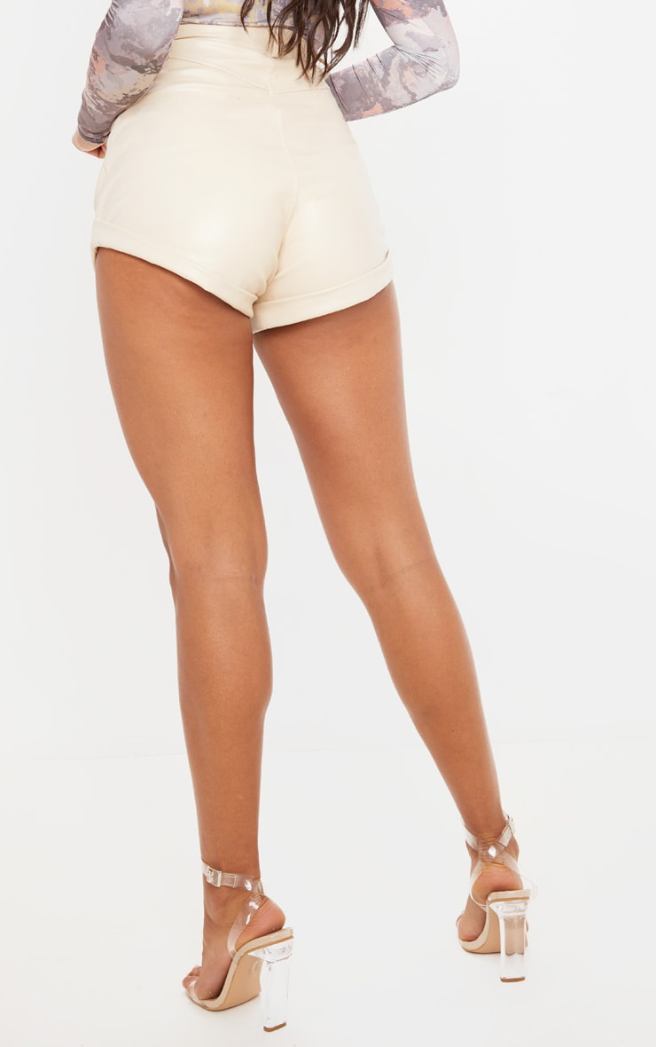 Cream Faux Leather Turn Up Hem Detail Shorts 4