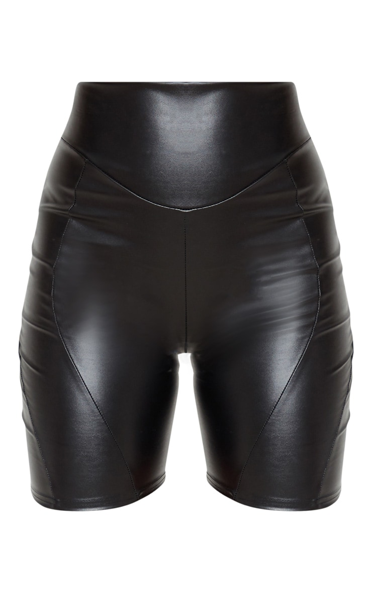 Black Faux Leather Front Seam Detail Bike Short 3