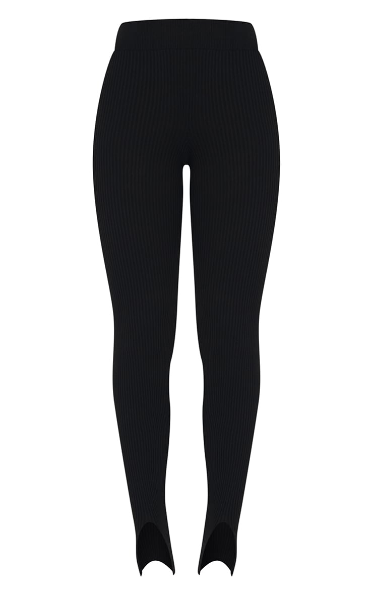 Black Stirrup Ribbed Knitted Leggings 5