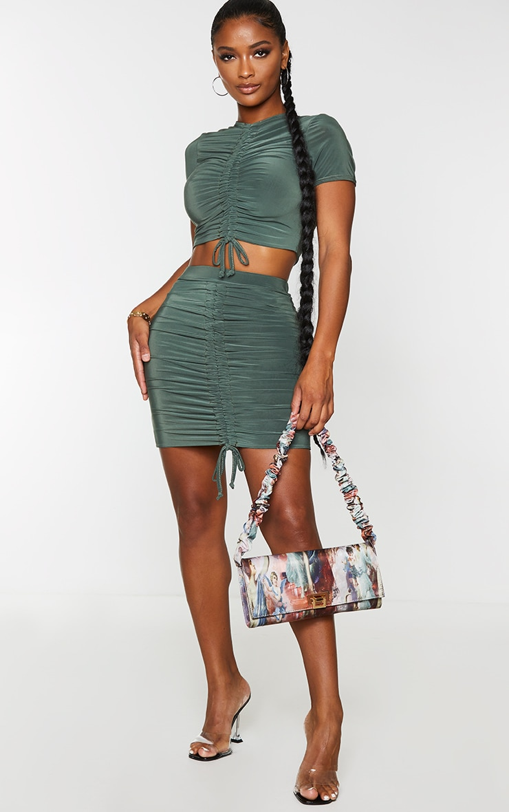 Shape Khaki Slinky Ruched Front Bodycon Skirt 4