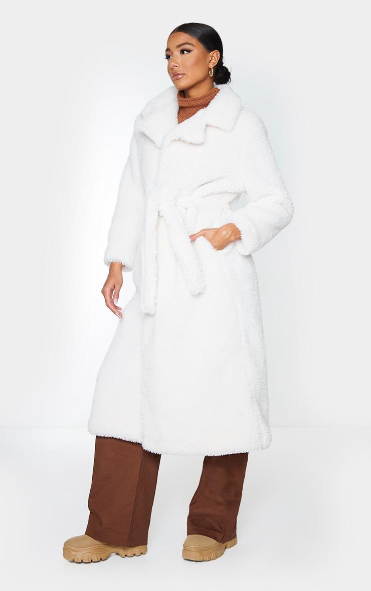 Cream Long Teddy Faux Fur Belted Coat 3