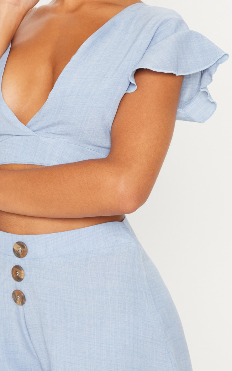 Blue Plunge Frill Sleeve Crop Blouse 5