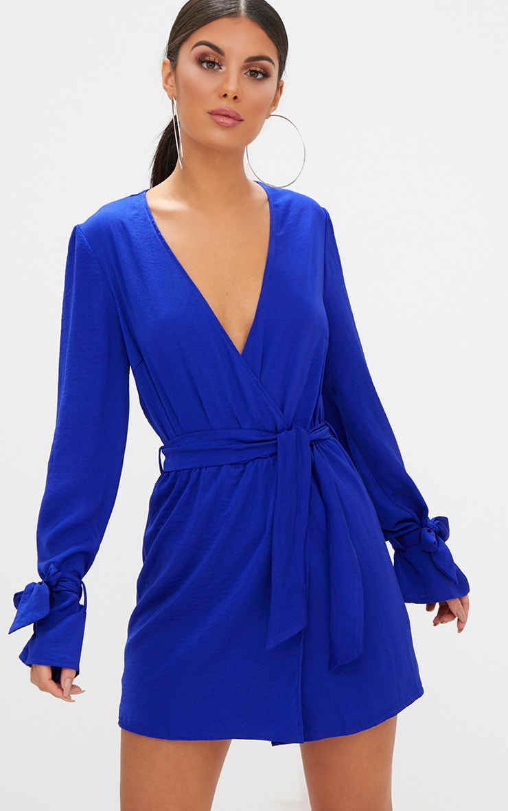 Cobalt Satin Wrap Cuff Detail Shift Dress 1