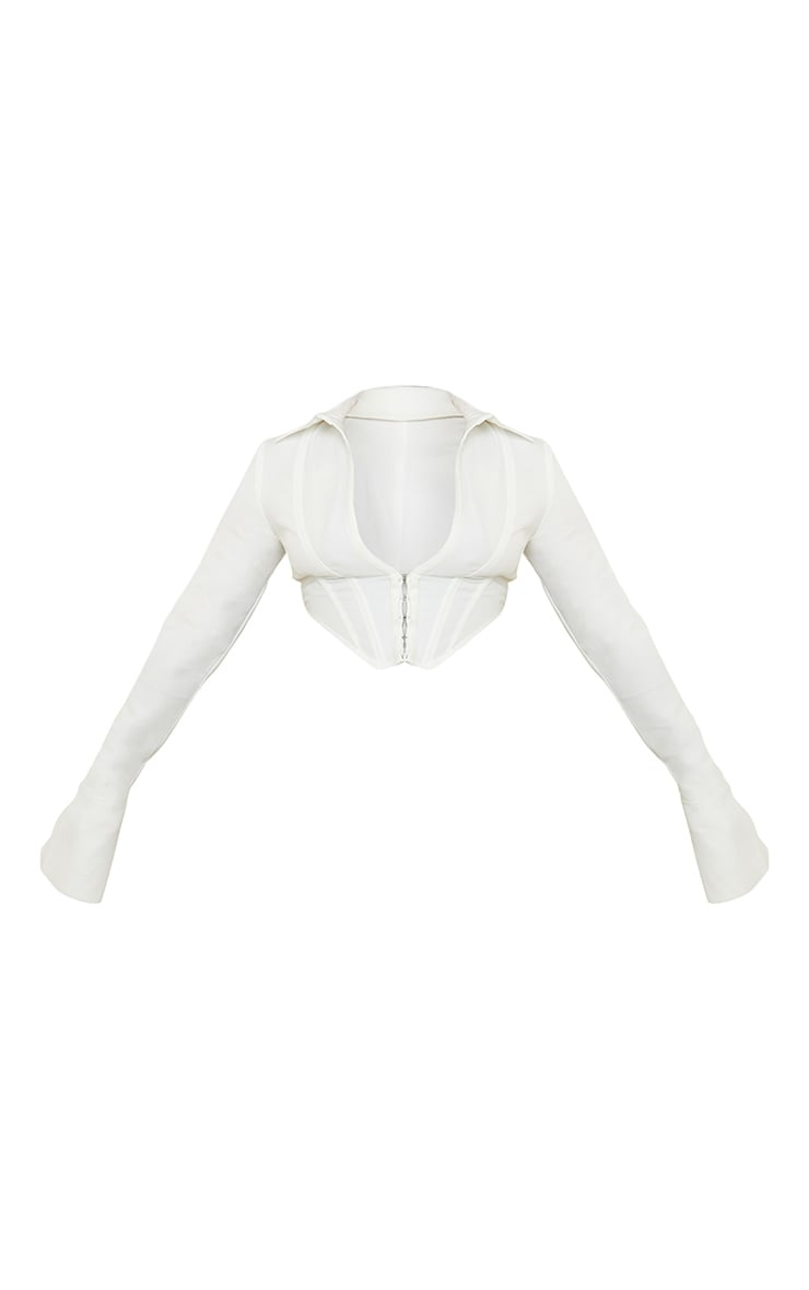 White Collar Long Sleeve Corset 5