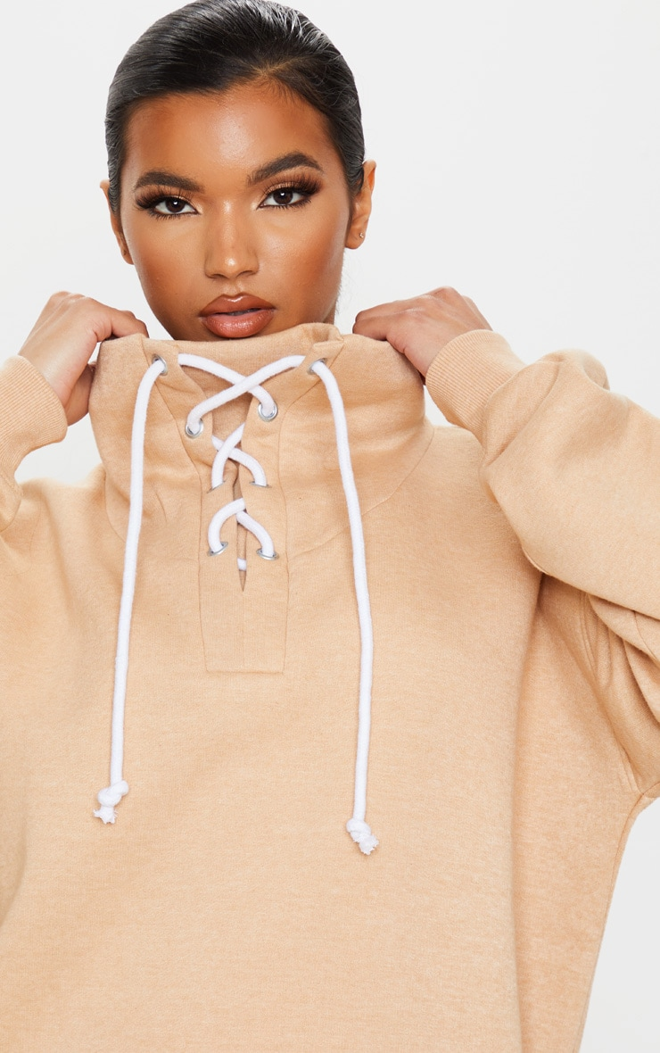 Sand Lace Up High Neck Sweater 5