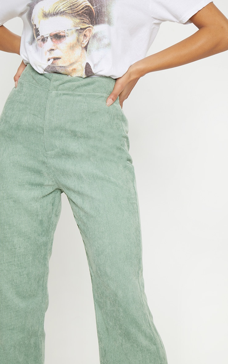 Sage Green Cord Flare Trouser 5
