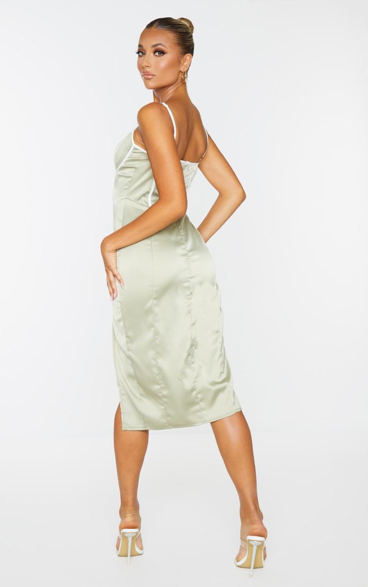 Pale Olive Satin Contrast Binding Detail Strappy Midi Dress 2