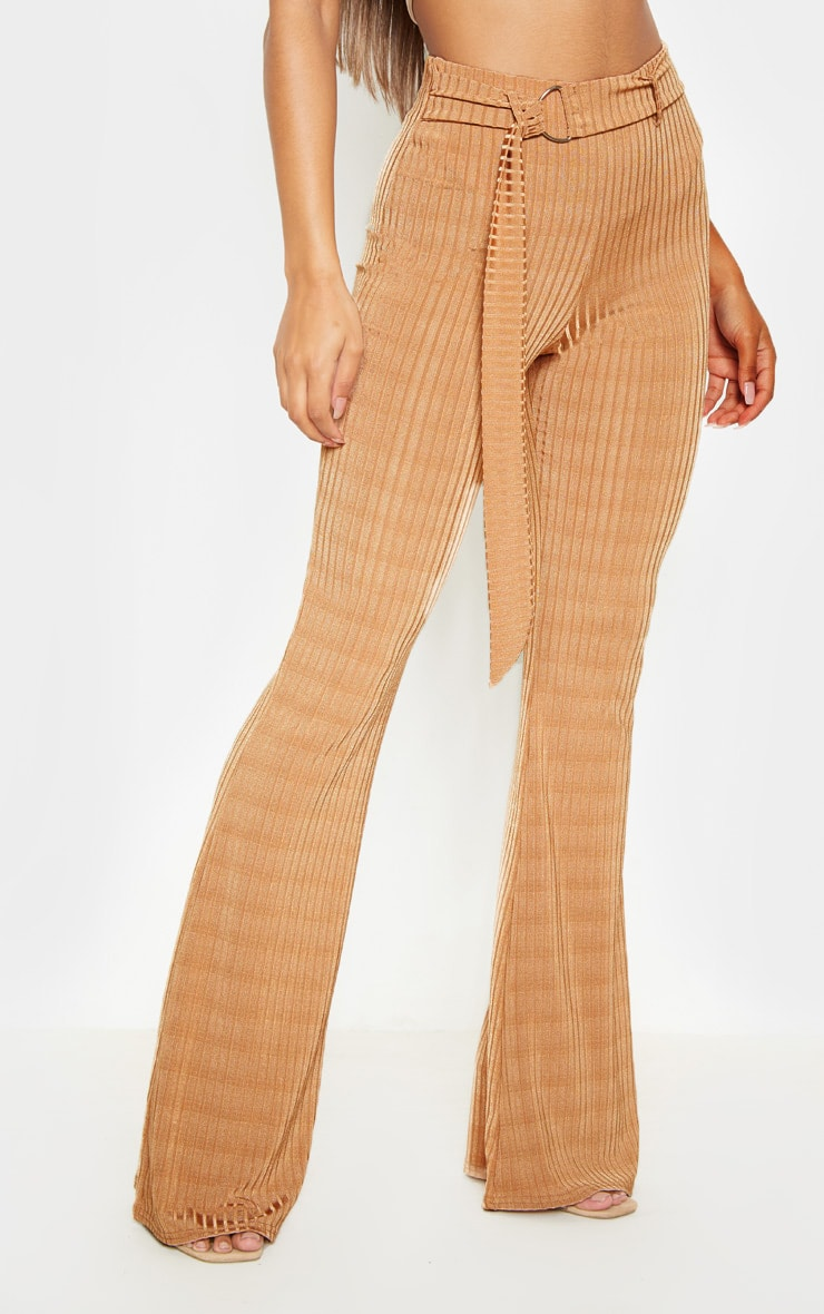Tobacco Rib D Ring Belted Flare Leg Pant 2