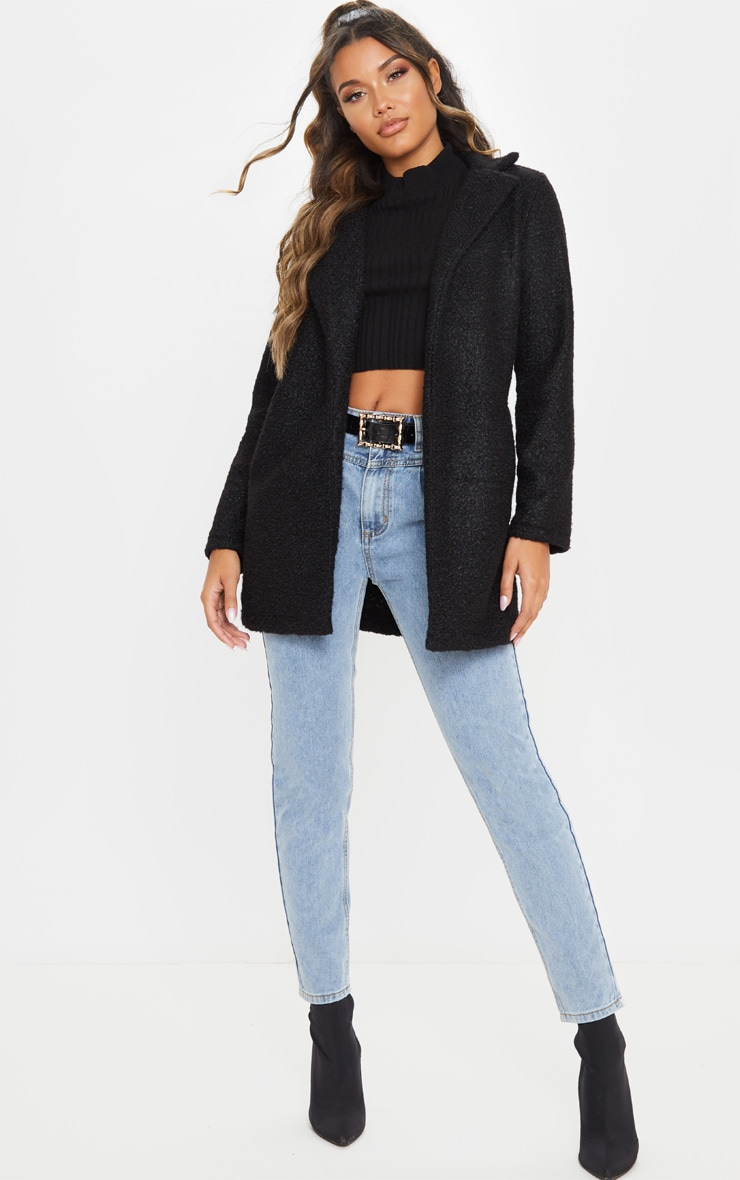 Black Textured Oversized Coat 1