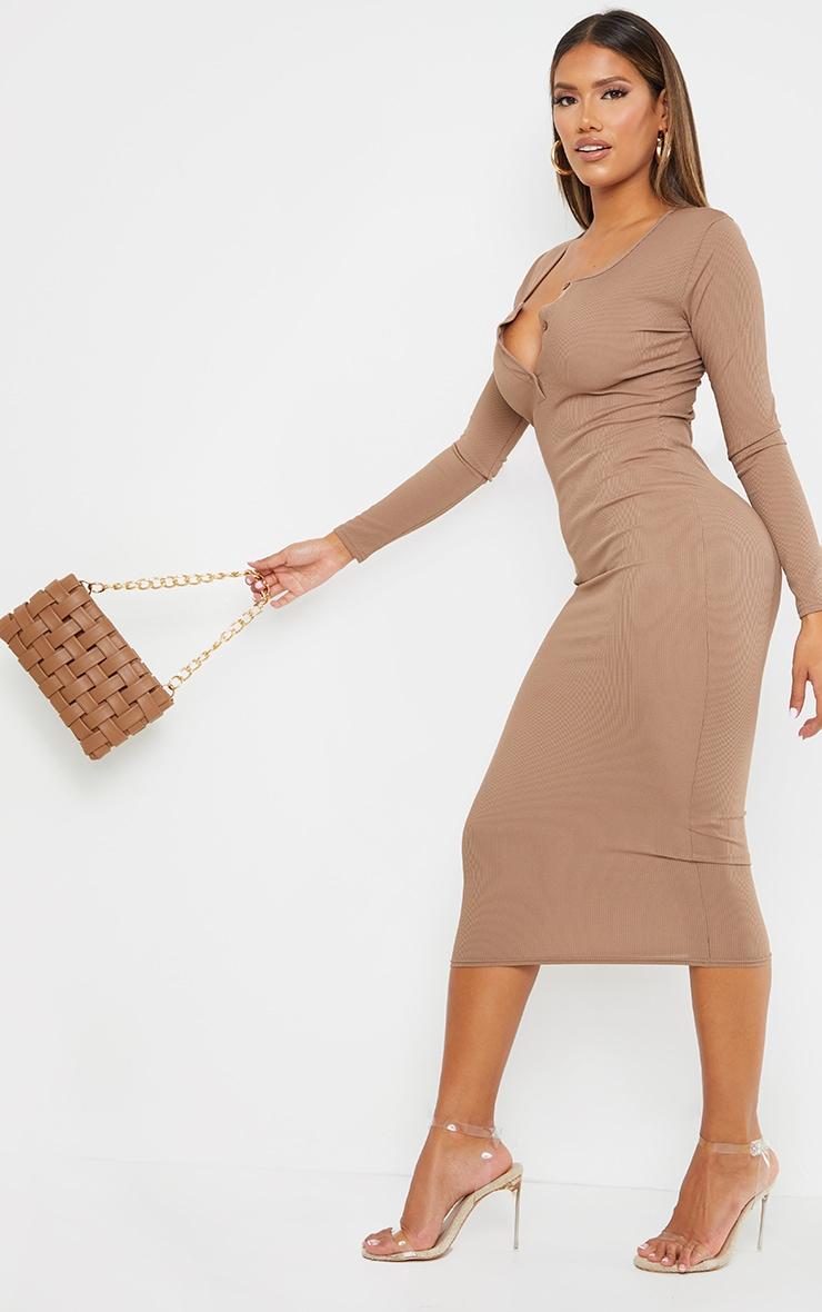 Shape Mocha Ribbed Button Front Long Sleeve Midaxi Dress 3