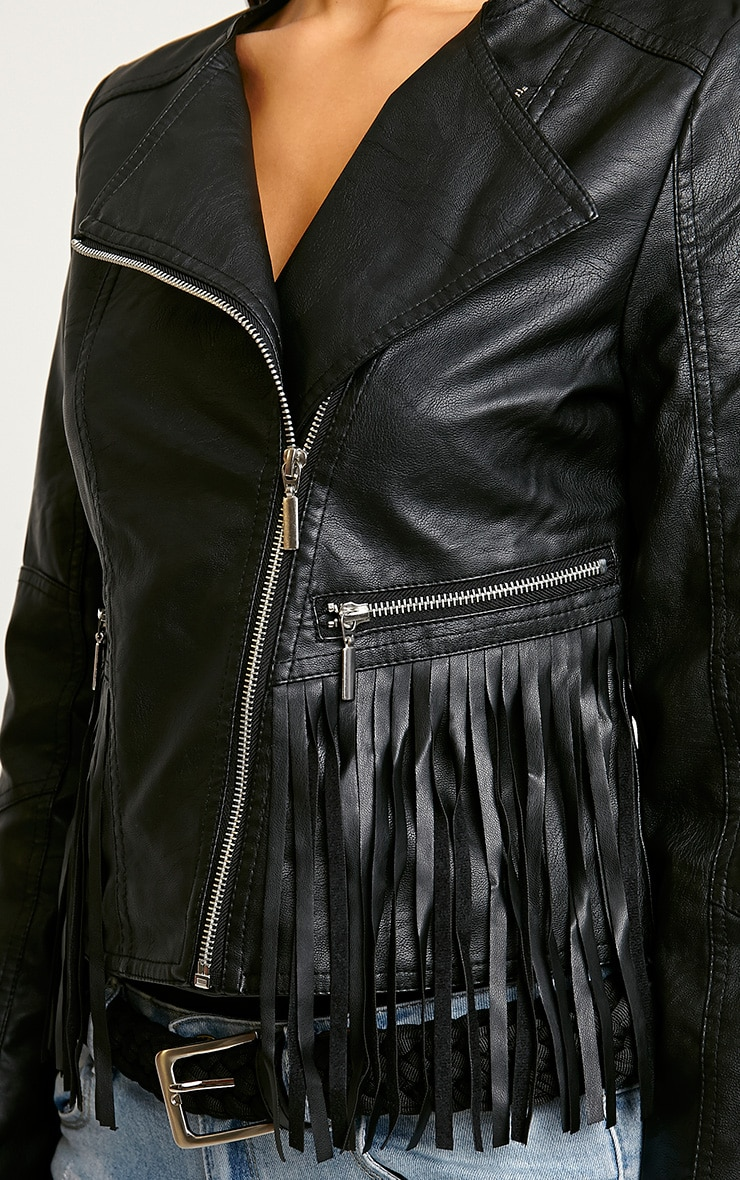 Rio Black Tassel Biker Jacket 5