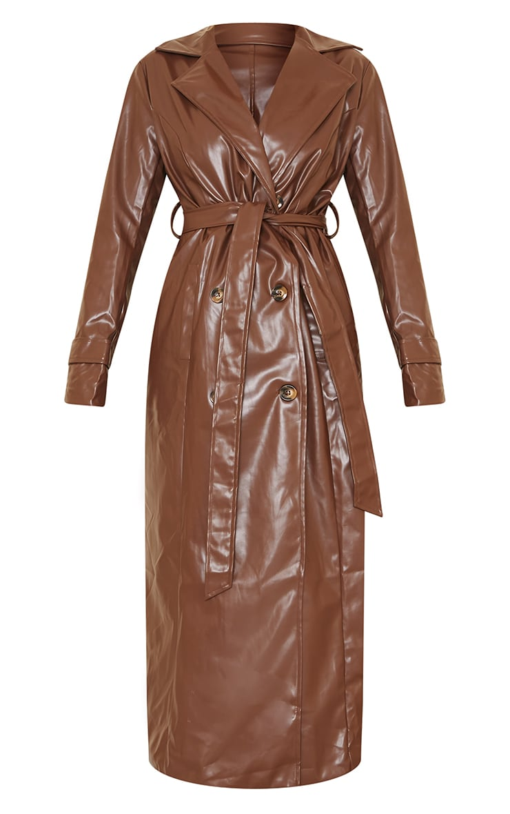 Chocolate Pu Double Breasted Maxi Trench 5