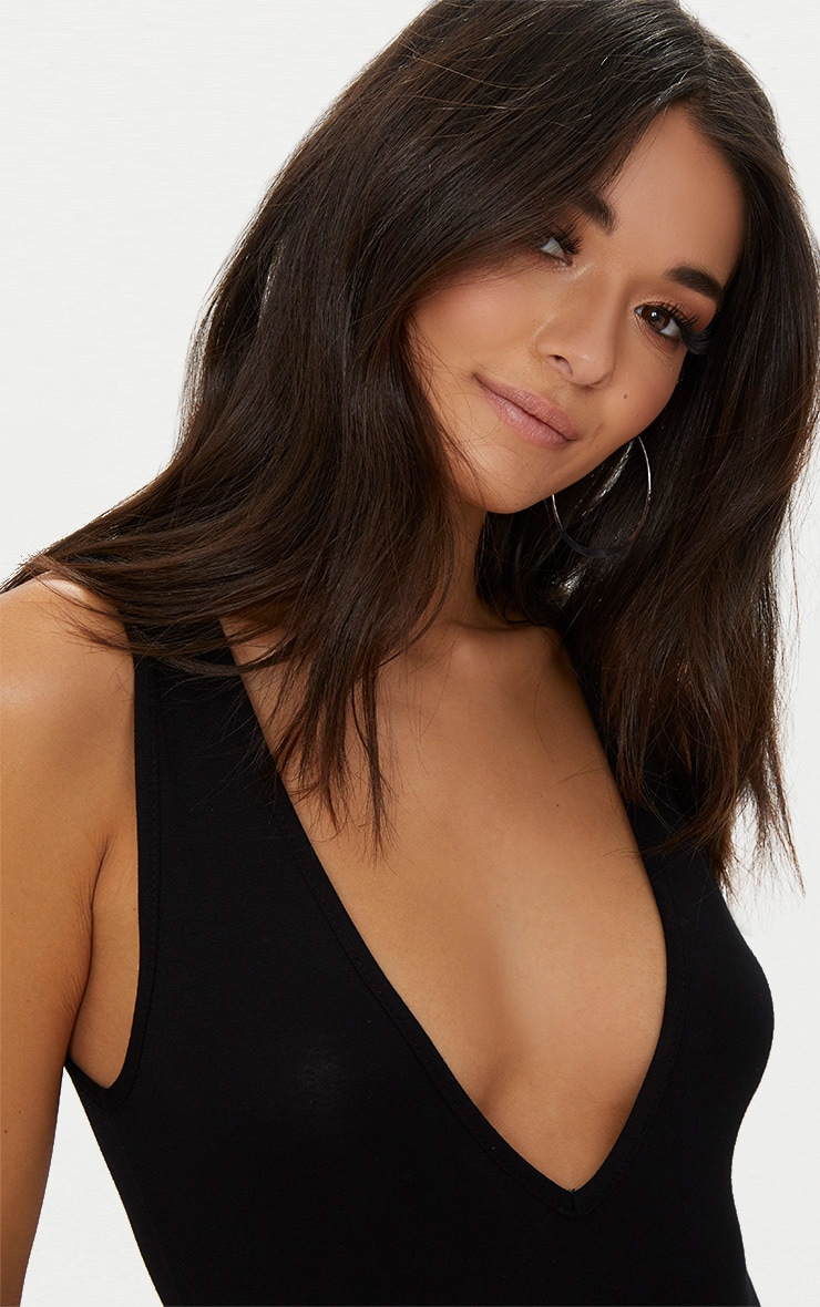 Basic Black Jersey Plunge Neck Thong Bodysuit 6