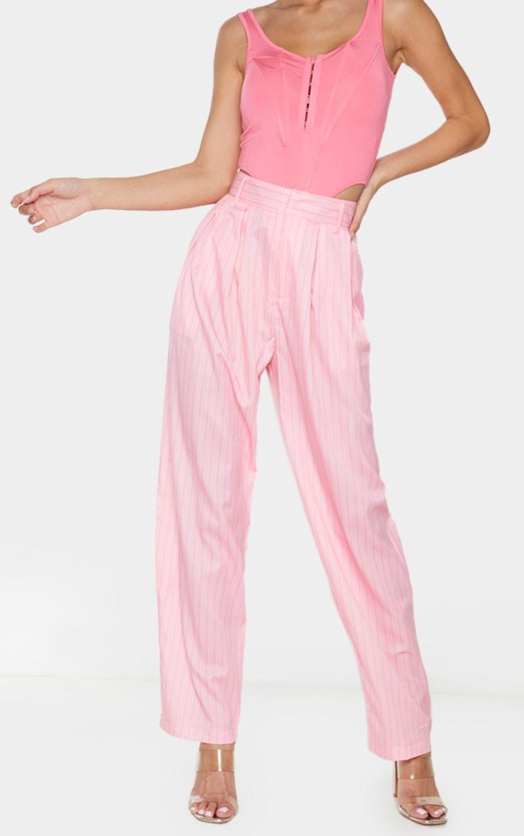 Pink Pinstripe Woven High Waisted Balloon Leg Trousers 2