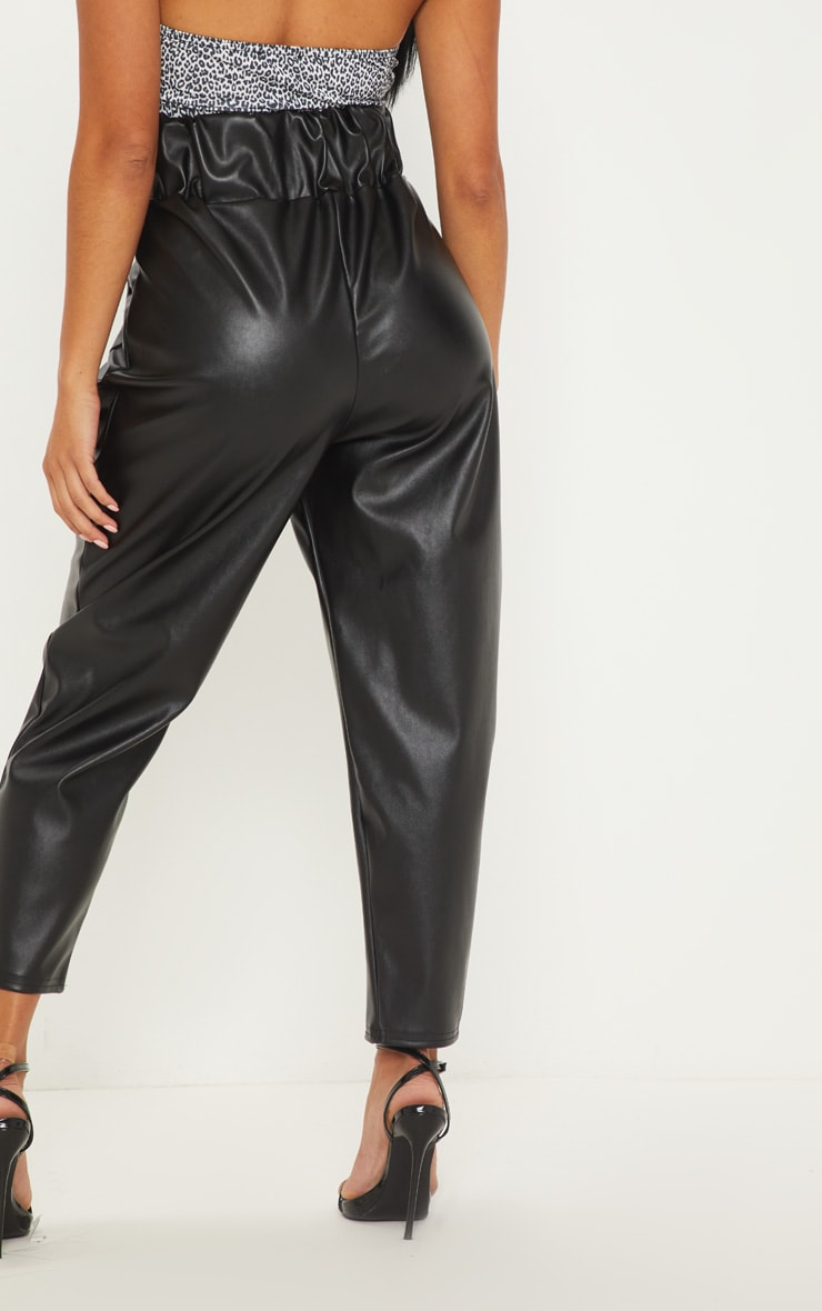 Petite Black Pocket Detail Faux Leather Joggers 4