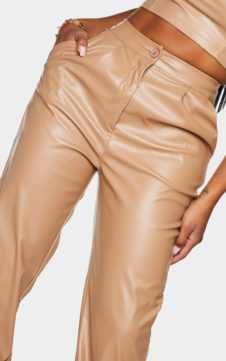 Shape Taupe Faux Leather Joggers 4