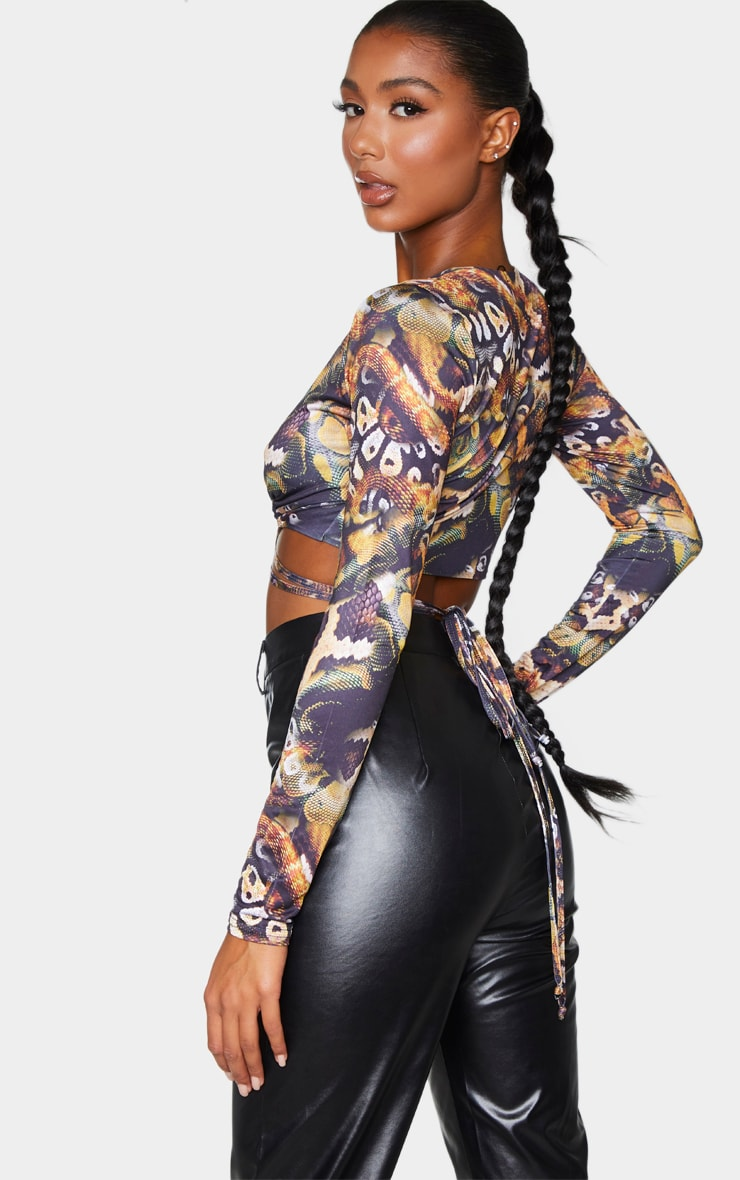 Black Tie Wrap Soft Touch Around Print Long Sleeve Crop Top 2