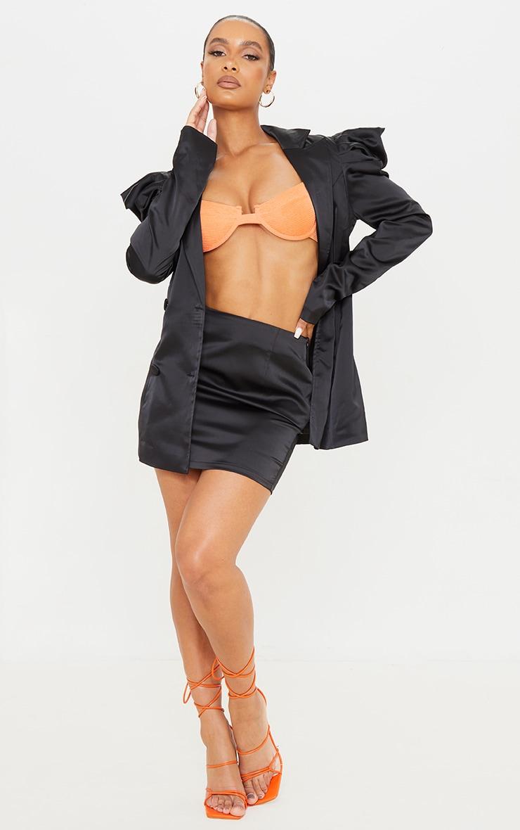Black Satin Mini Suit Skirt 1